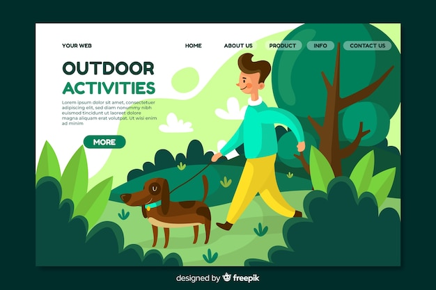 Modelo de página de destino de atividades ao ar livre Vetor grátis