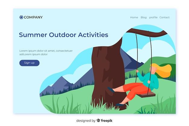 Modelo de página de destino de atividades ao ar livre Vetor Premium