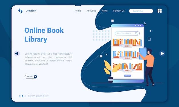 Modelo de página de destino de biblioteca de livro on-line de design plano Vetor Premium