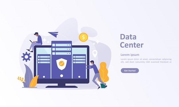 Modelo de página de destino de big data com banco de dados em nuvem Vetor Premium