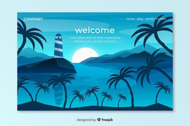 Modelo de página de destino de boas-vindas com paisagem Vetor grátis