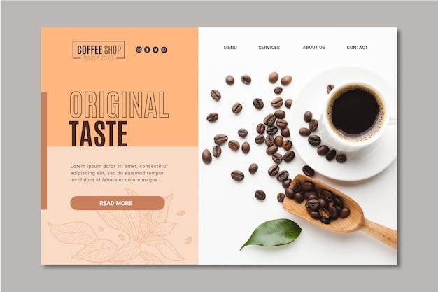 Modelo de página de destino de café Vetor Premium