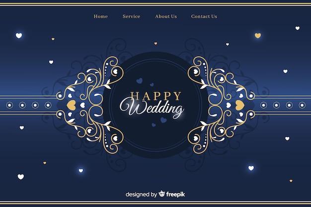 Modelo de página de destino de casamento elegante Vetor grátis