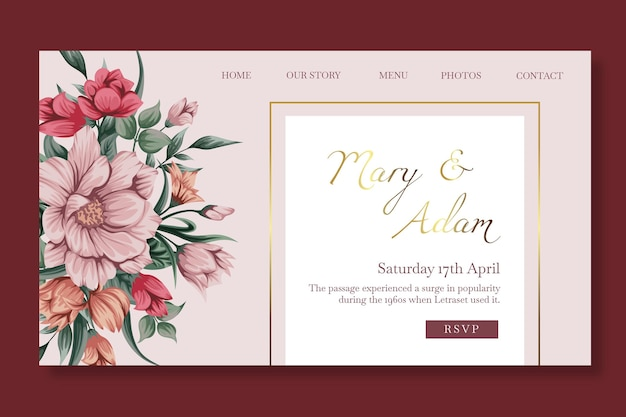 Modelo de página de destino de casamento floral Vetor Premium