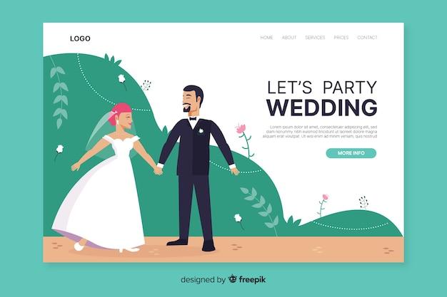 Modelo de página de destino de casamento plana Vetor grátis