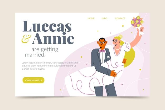 Modelo de página de destino de casamento Vetor grátis