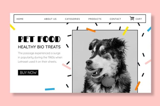 Modelo de página de destino de comida animal com foto Vetor grátis