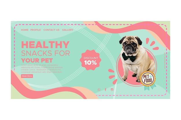 Modelo de página de destino de comida animal Vetor Premium