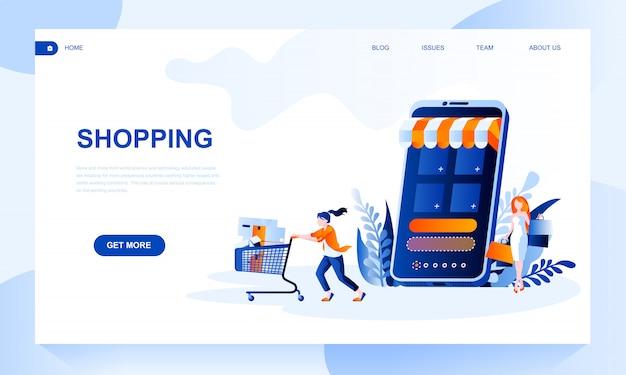 Modelo de página de destino de compras com cabeçalho Vetor Premium