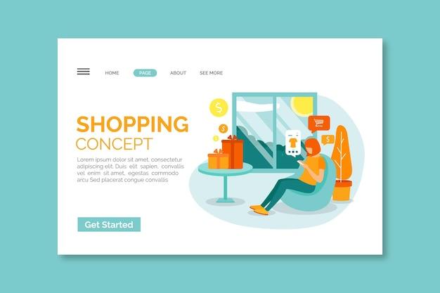 Modelo de página de destino de compras on-line de design plano com ilustração Vetor grátis