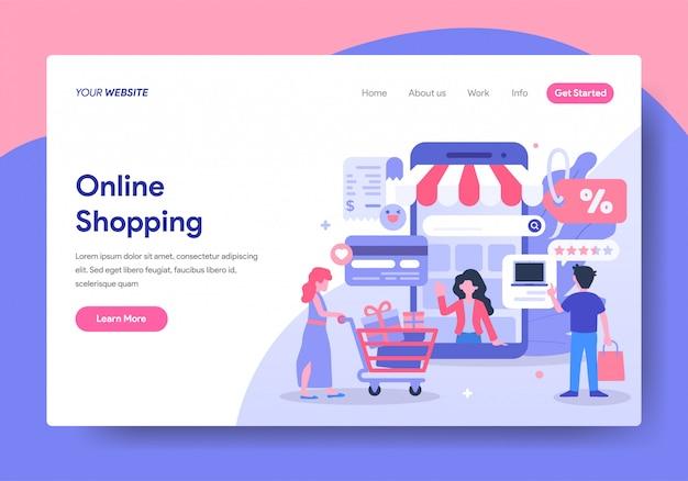 Modelo de página de destino de compras on-line Vetor Premium
