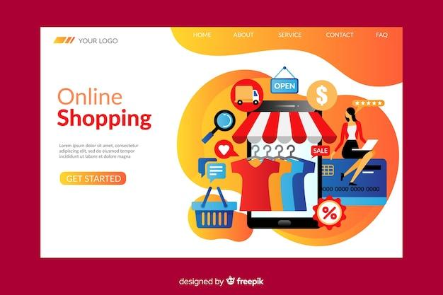 Modelo de página de destino de compras on-line Vetor grátis
