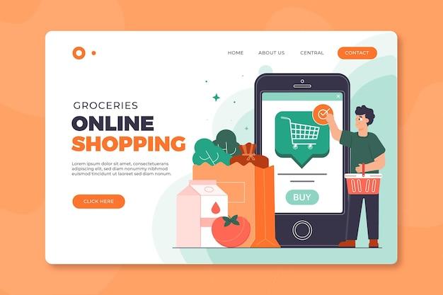 Modelo de página de destino de compras online Vetor grátis