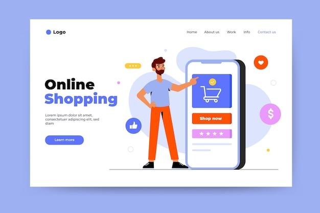 Modelo de página de destino de compras online Vetor Premium