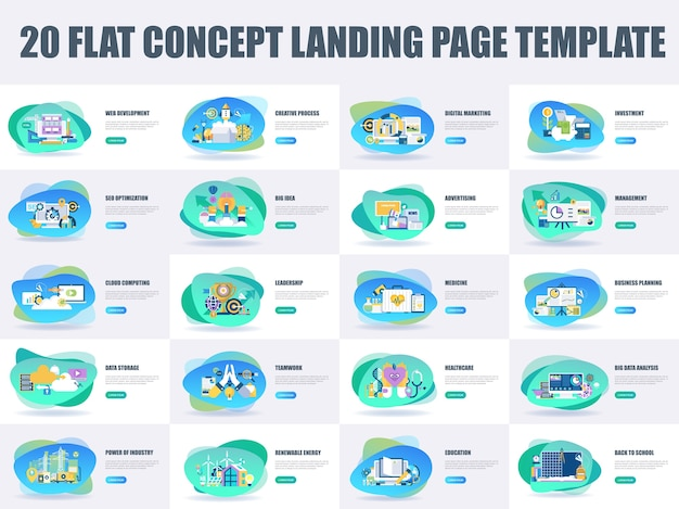 Modelo de página de destino de conceito de design plano de pacote Vetor Premium