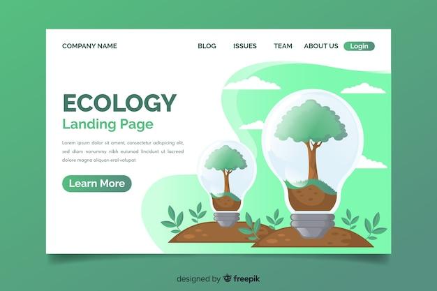 Modelo de página de destino de conceito de ecologia Vetor grátis