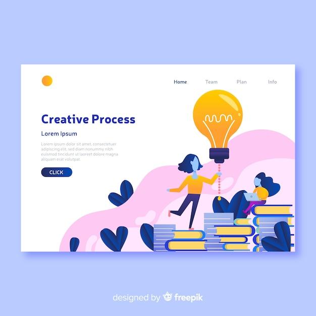 Modelo de página de destino de conceito de processo criativo Vetor grátis