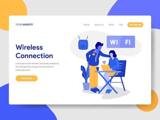 Modelo de página de destino de conexão sem fio e ilustração wi-fi Vetor Premium