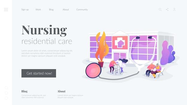 Modelo de página de destino de cura residencial de enfermagem Vetor grátis