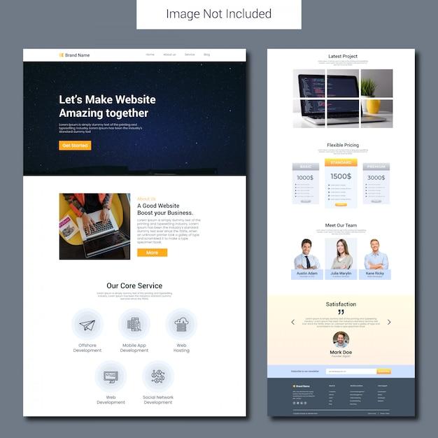 Modelo de página de destino de desenvolvimento de site Vetor Premium