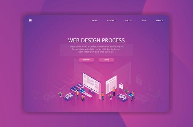 Modelo de página de destino de design isométrico Vetor Premium