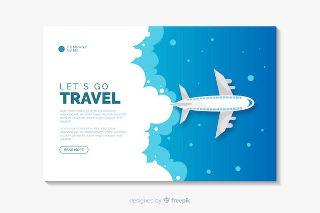 Modelo de página de destino de design plano de viagem Vetor grátis