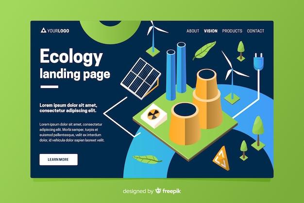 Modelo de página de destino de ecologia isométrica Vetor grátis