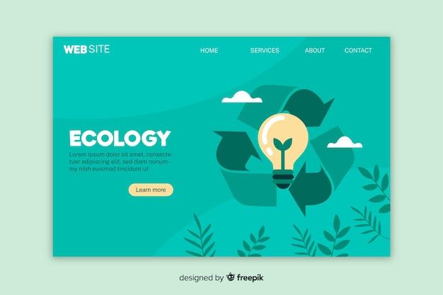 Modelo de página de destino de ecologia plana Vetor Premium
