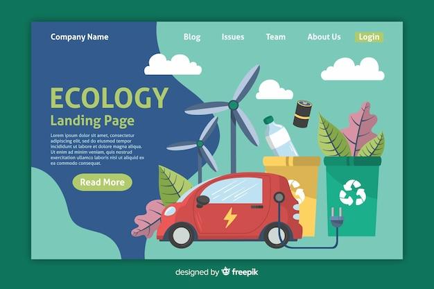 Modelo de página de destino de ecologia plana Vetor grátis