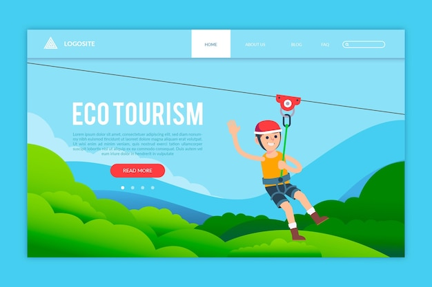 Modelo de página de destino de ecoturismo Vetor grátis