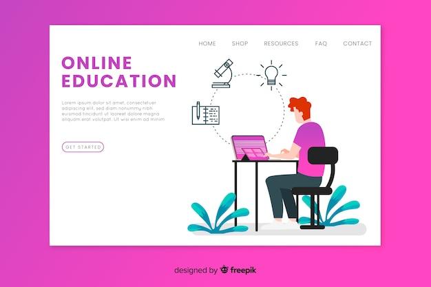 Modelo de página de destino de educação on-line Vetor grátis