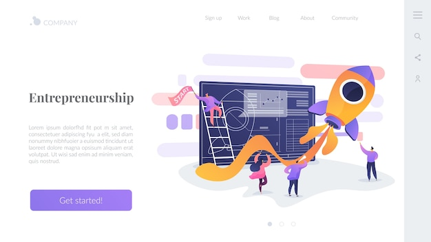Modelo de página de destino de empreendedorismo Vetor grátis
