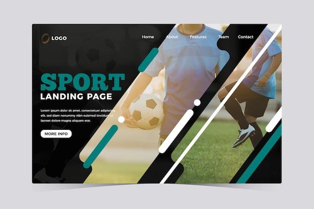 Modelo de página de destino de esporte com foto Vetor grátis