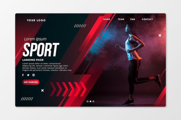 Modelo de página de destino de esporte com foto Vetor Premium