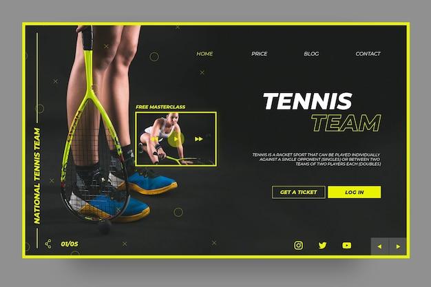 Modelo de página de destino de esporte de equipe de tênis Vetor grátis