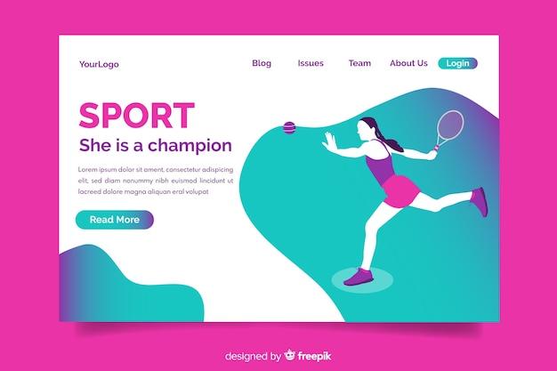 Modelo de página de destino de esporte gradiente Vetor grátis