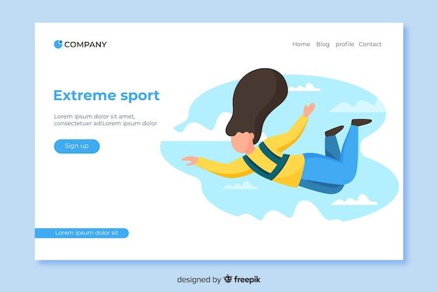Modelo de página de destino de esporte plana Vetor Premium