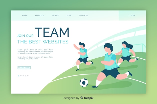 Modelo de página de destino de esporte plana Vetor grátis
