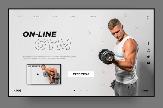 Modelo de página de destino de esportes de ginástica online Vetor grátis