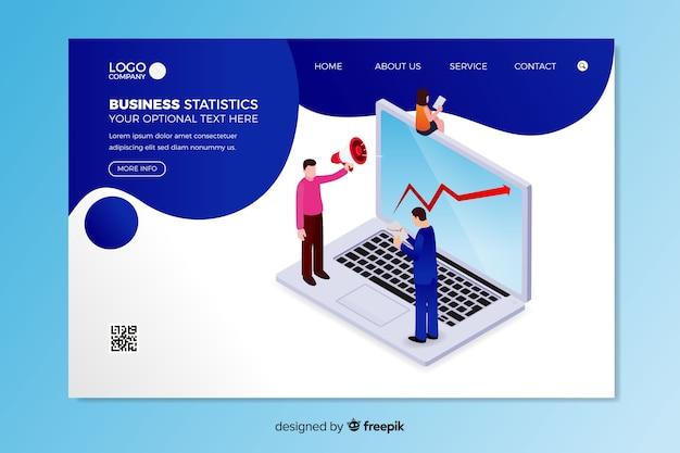 Modelo de página de destino de estatísticas de negócios Vetor grátis