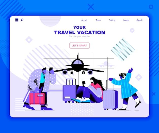 Modelo de página de destino de férias de viagem Vetor Premium
