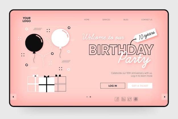 Modelo de página de destino de festa de aniversário com ilustrações Vetor grátis