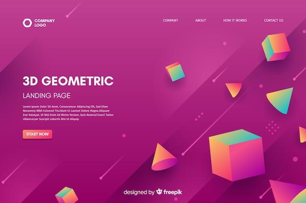 Modelo de página de destino de formas geométricas 3d Vetor grátis