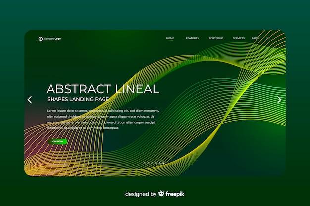 Modelo de página de destino de formas lineares Vetor grátis