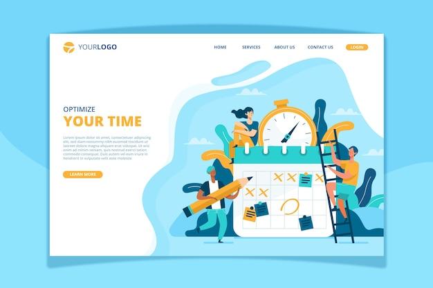 Modelo de página de destino de gerenciamento de tempo Vetor grátis