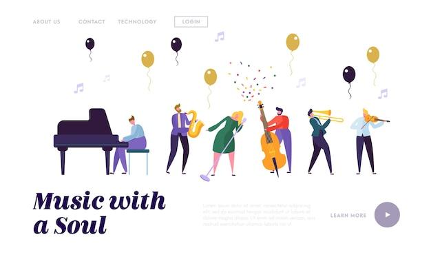 Modelo de página de destino de grupo de músicos e artistas Vetor Premium