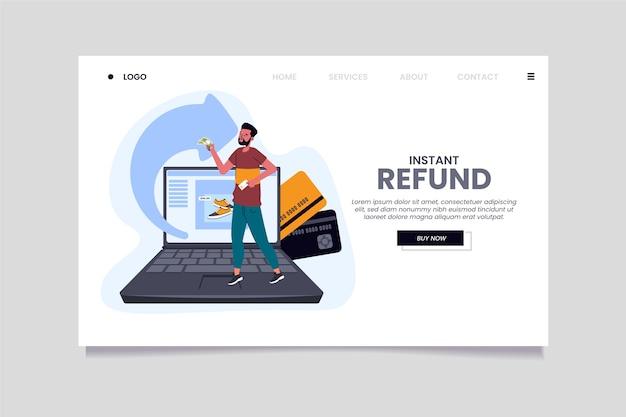 Modelo de página de destino de homem e laptop de cashback Vetor grátis