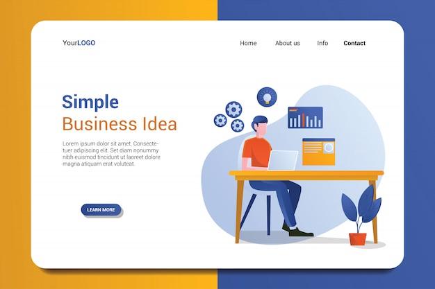 Modelo de página de destino de ideia de negócio simples Vetor Premium