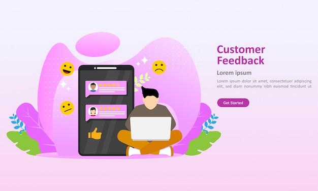 Modelo de página de destino de ilustração em vetor feedback dos clientes Vetor Premium