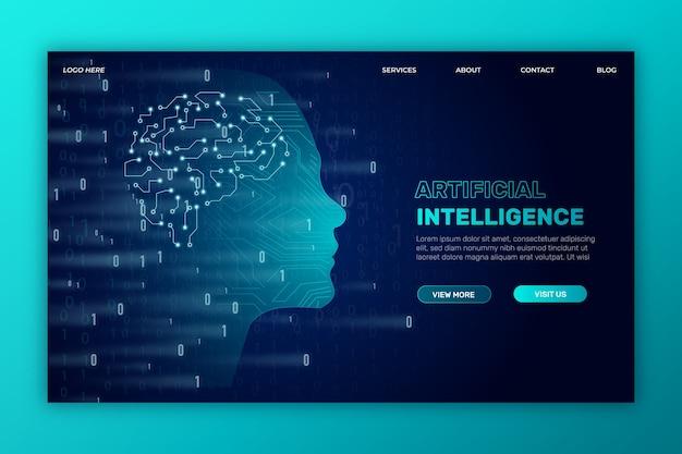 Modelo de página de destino de inteligência artificial Vetor grátis